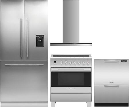 4 Piece Kitchen Appliances Package with RS36A80U1N 36″ French Door Refrigerator  OR30SDI6X1 30″ Electric Range  HC30DTXB2 30″ Wall Mount Convertible