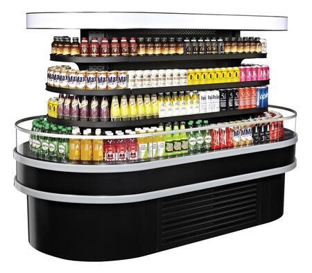 Turbo Air TIOM48RSRBN Display and Merchandising Refrigerator Black, TIOM48RSRBN Angled View