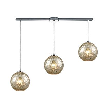 31380/3L-MRC Watersphere 3 Light Linear Bar Fixture in Polished Chrome with Mercury Hammered