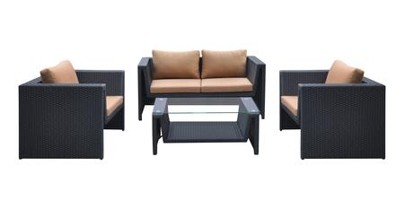 SETODOABL Armen Living Oahu 4 piece Outdoor Wicker Patio Set with Brown Fabric Cushions and Temperated Glass