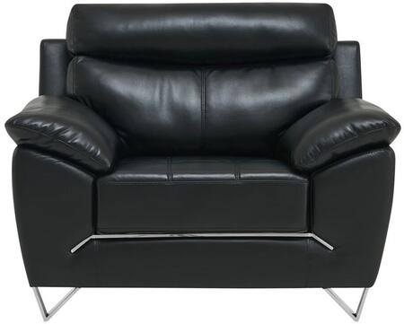 U8360-BLANCHE BLACK-CH Chair with Pillow Arms and Attached Back Cushions in
