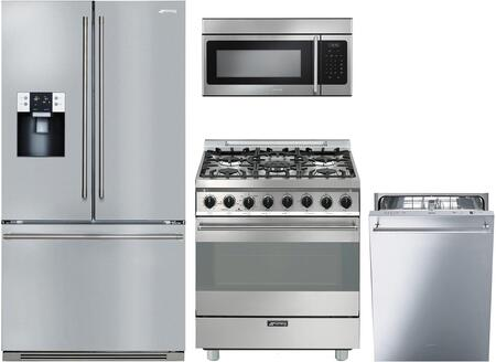 4 Piece Kitchen Appliances Package with FTU171X7 36″ French Door Refrigerator  C30GGXU1 30″ Gas Range  OTR316XU 30″ Over the Range Microwave and