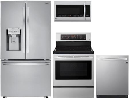 4 Piece Kitchen Appliances Package with LRFXC2406S 36″ French Door Refrigerator  LRE3194ST 30″ Electric Range  LMHM2237ST 30″ Over the Range