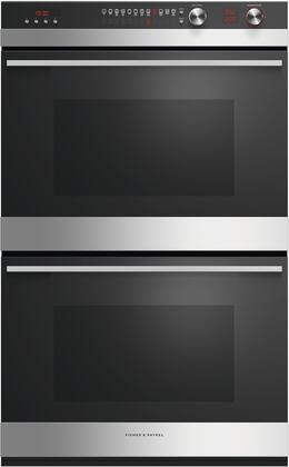 Fisher Paykel Contemporary OB30DDEPX3N Double Wall Oven Black, Front view