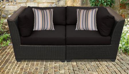 Barbados Collection BARBADOS-02a-BLACK 2-Piece Wicker Patio Sofa with 2 Corner Chairs – Wheat and Black