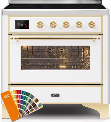 Ilve Majestic II UMI09NS3RALG Freestanding Electric Range Custom Color, UMI09NS3RALG-Front-CD-A