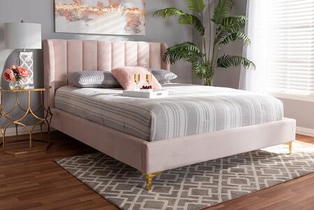 Baxton Studio Saverio BBT6765LIGHTPINKQUEEN Bed Pink, 9099 6
