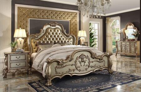 Acme Furniture Dresden 23154CKDM2N Bedroom Set Gold, 1