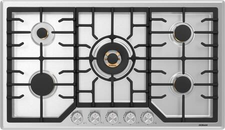 G515 36″ Gas Cooktop Stove with 5 Italian-Made  Pure Copper Core Brass Burners  Failure System  Matte Cast Iron Grates  Wok Grate  in Stainless