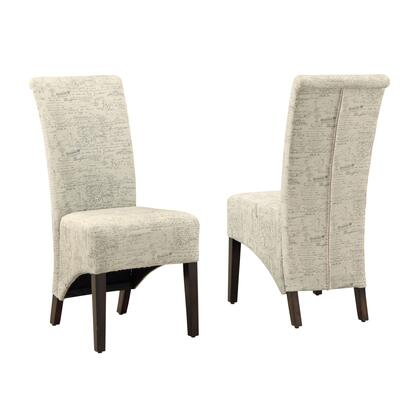 332660 Set of 2 Dining Room Chairs with Foam Filled Cushion  Transitional Style  Cappuccino Finished Solid Wood Frame and Linen Fabric Upholstery in