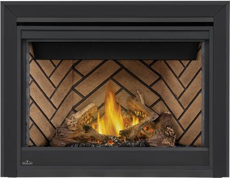 Napoleon Ascent B42NTRE Fireplace Black, Logs, Herringbone Brick Panels, Beveled Trim
