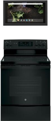 2 Piece Kitchen Appliances Package with JB655DKBB 30″ Electric Range and UVH13013MDS 30″ Under Cabinet Ducted Hood in