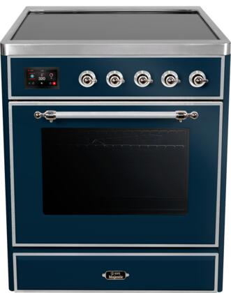 Ilve Majestic II UMI30NE3MBC Freestanding Electric Range Blue, UMI30NE3MBC Induction Range