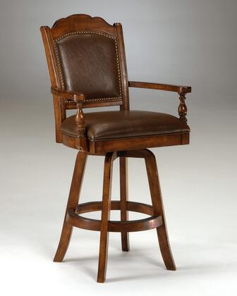 6060-830 Nassau 50 Leather Upholstered 360 Degree Swivel Game Bar Stool with Nail Head Accents and Wood Frame in