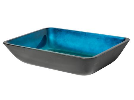 EB_GS55 18″ Foil Vessel Sink with 1 Year Limited Warranty  Rectangular Shape and Tempered Glass Material in Black Exterior and Turquoise Blue