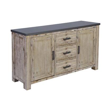 17287 Vermouth Credenza  in Whitewash  Galvanized Pewter