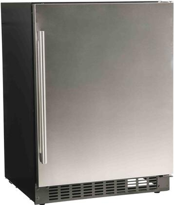 """A124RS 24"""" Compact Refrigerator with 5.1 cu. ft. Capacity Blue LED Lighting 4 Glass Shelves Auto Defrost Digital Display Control in Stainless"""