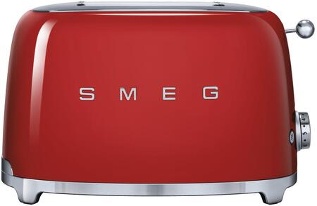 TSF01RDUS 50s Retro Style 2 Slice Toaster with 6 Browning Levels Stainless Steel Ball Lever Knob Backlit Chrome Knob Self-Centering Racks and