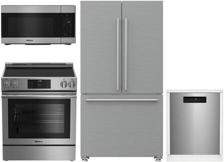 4 Piece Kitchen Appliances Package with BRFD2230SS 36″ French Door Refrigerator  BERU30420SS 30″ Electric Range  BOTR30100SS 30″ Over the Range