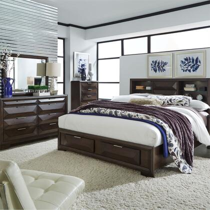 Liberty Furniture 148-BR-QSBDMC 4 Piece Bedroom Set with Queen Size Storage Bed  Dresser and Mirror  Chest in Cappuccino