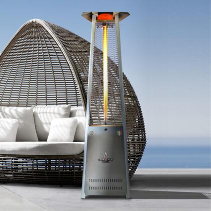 AL8MPS LAVALITE 92.5″ Triangle Glass Tube Outdoor Heater with  56 000 BTU  Electronic Ignition   in Stainless Steel  Liquid Propane –