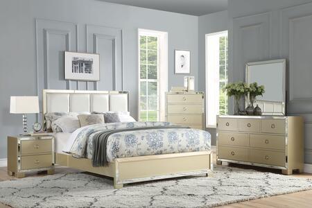 Acme Furniture Voeville II 27127EKSET Bedroom Set Gold, Bedroom Set