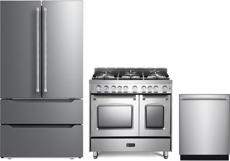 3 Piece Kitchen Appliances Package with VERF36CDSS 36″ French Door Refrigerator  VPFSGG365DSS 36″ Gas Range  and VEDW24TSS 24″ Built In Dishwasher in
