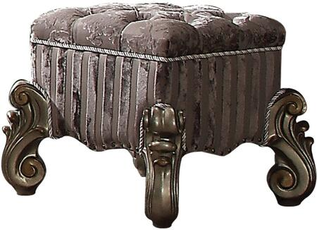 Acme Furniture Versailles 26848 Vanity Stool Gray, Angled View