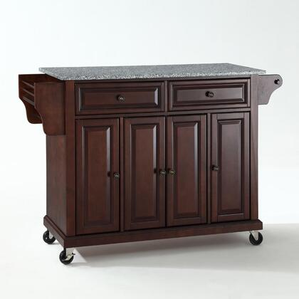 Full Size Kitchen Collection KF30003EMA Full Size Granite Top Kitchen Cart in Mahogany