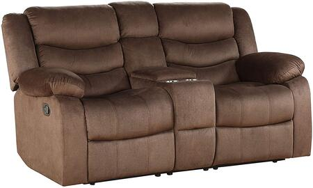 Angelina Collection 55046 Loveseat w/Console (Motion)  Pillow Top Armrest  Attached Back  Tight Back and Seat Cushion  Horizontal Tufted Back Cushion