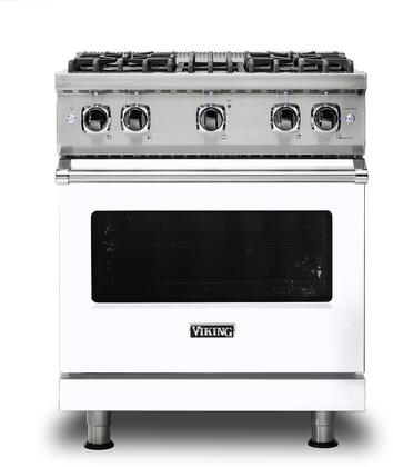 Viking 5 Series VGR5304BWH Freestanding Gas Range White, Main image front view