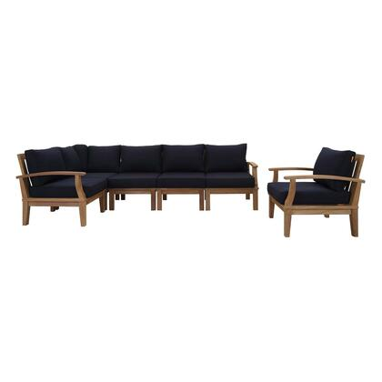Marina Collection EEI-1816-NAT-NAV-SET 6 PC Outdoor Patio Teak Set in Natural Navy