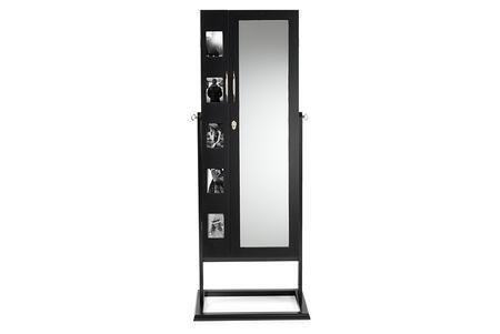 GLD13358-BLACK Baxton Studio Vittoria Black Finish Wood Square Foot Floor Standing Double Door Storage Jewelry Armoire