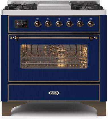 UM09FDNS3MBB 36″ Majestic II Series Dual Fuel Natural Gas Range with 6 Burners and Griddle  3.5 cu. ft. Oven Capacity  TFT Oven Control Display