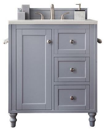Copper Cove Encore Collection 301-V30-SL-3CSP 30″ Single Vanity  Silver Gray  with 3 CM Charcoal Soapstone Quartz Top with