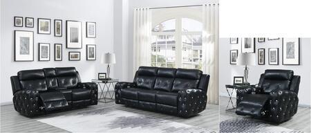 U8311-PSPLPR-B 3 Piece Living Room Set with Power Reclining Sofa  Power Console Reclining Loveseat  Power Recliner in Blanche