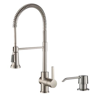 Britt Series KPF-1690SFS-KSD-31SFS Single Handle Commercial Kitchen Faucet with Deck Plate and Soap Dispenser in all-Brite Spot Free Stainless Steel