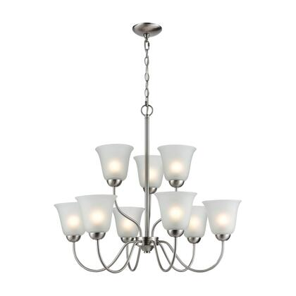 1209CH/20 Conway 9-Light Chandelier in Brushed Nickel with White