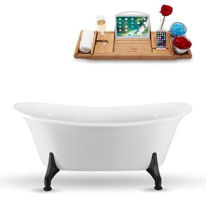 N1081BL 67″ Clawfoot Tub and Tray With External Drain in