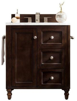 Copper Cove Encore Collection 301-V30-BNM-3OCAR 30″ Single Vanity  Burnished Mahogany  with 3 CM Carrara White Top with Oval