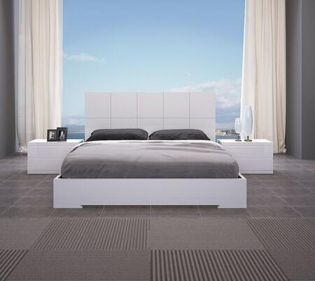 Anna Collection BF1207WHT3SET 3 PC Bedroom Set with Full Size Bed and 2 Nightstands in White