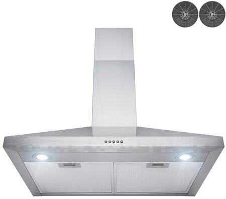 RH0429 30″ Convertible Wall Mount Range Hood with 400 CFM  LED Lighting  Mesh Filters and Push Button Controls in Stainless