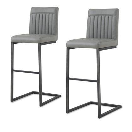 1060009-216 Ronan PU Leather Bar Stool Set of 2  in Antique Graphite