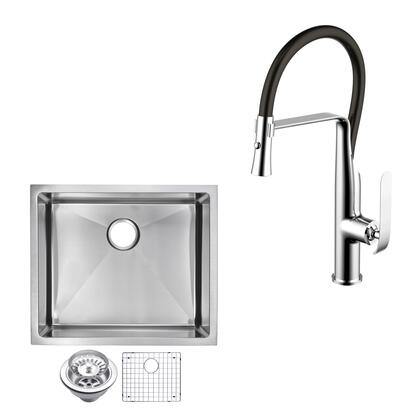 CF511-US-2320B 23″ X 20″ 15mm Corner Radius Single Bowl Stainless Steel Hand Made Undermount Kitchen Sink With Drain  Strainer  Bottom Grid  And