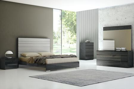 Whiteline Malibu BQ1367PGRY5SET Bedroom Set Gray, Bedroom Set