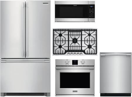 5 Piece Kitchen Appliances Package with 36″  French Door Refrigerator  30″ Electric Single Wall Oven  36″ Gas Cooktop  24″ Built In Microwave Oven