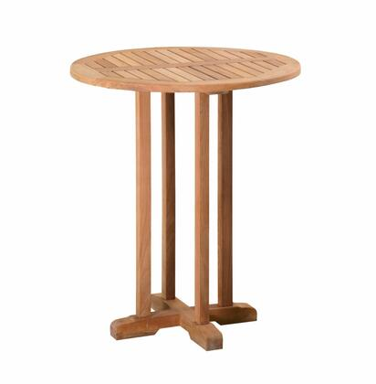 Classic Collection DN-5566 36″ Bar Table with Teak Construction  Stainless Steel and Brass Hardware  Mortise and Tenon Joinery in Honey