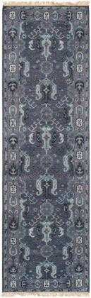 Zeus ZEU-7830 2'6″ x 8′ Runner Traditional Rugs in Navy  Dark Purple  Aqua  Pale
