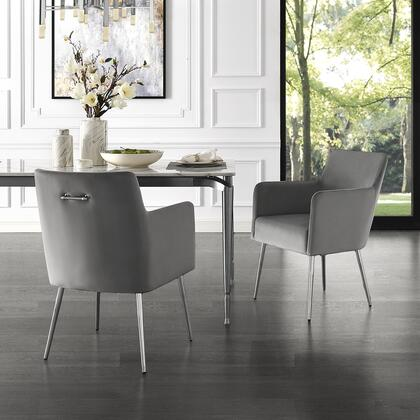 Perogo Collection DC91-02LG2-AC Set of 2 Dining Chairs with High Density Foam  Scooped Backrest and Velvet Upholstery in Light Grey