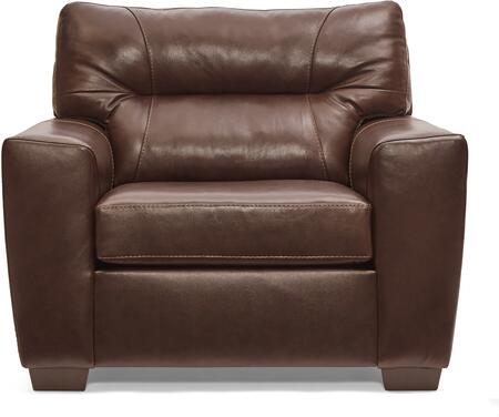 2043-01 SOFT TOUCH CHESTNUT 37″ Chair 1/4 with Tufted Back Cushion and Leather Upholstery in